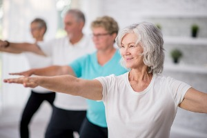 Residents enjoying an exercise class in Senior Living in Peoria IL